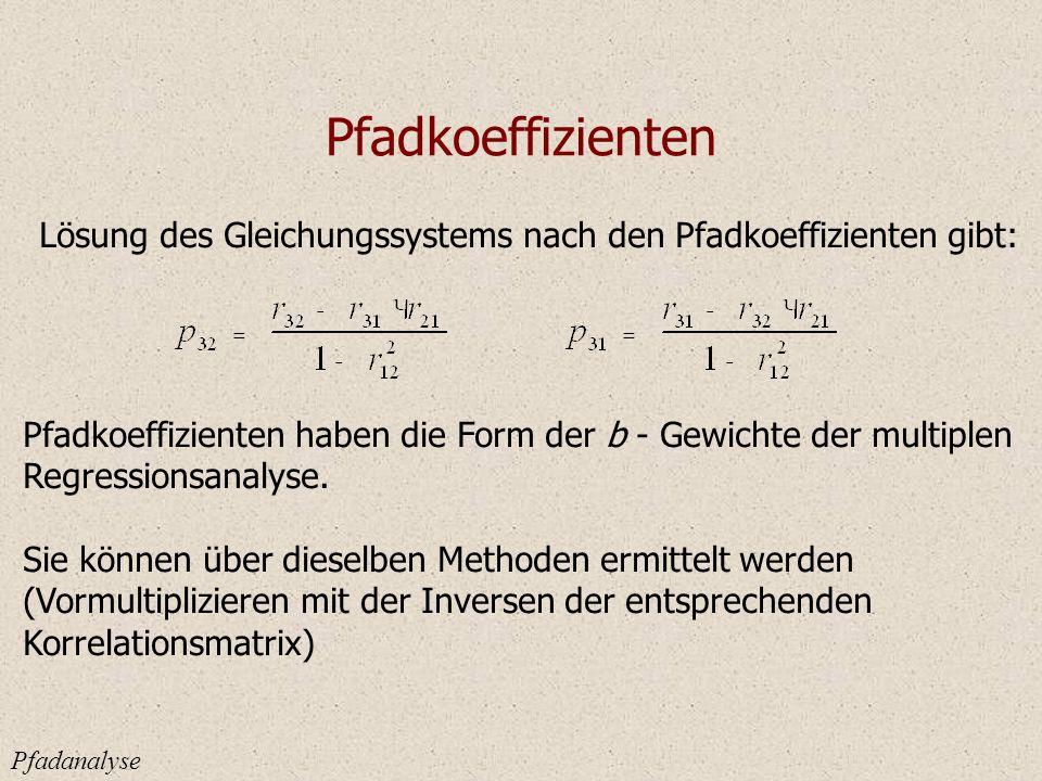 Pfadkoeffizienten Pfadanalyse Lösung des Gleichungssystems nach den Pfadkoeffizienten gibt: Pfadkoeffizienten haben die Form der b - Gewichte der multiplen Regressionsanalyse.