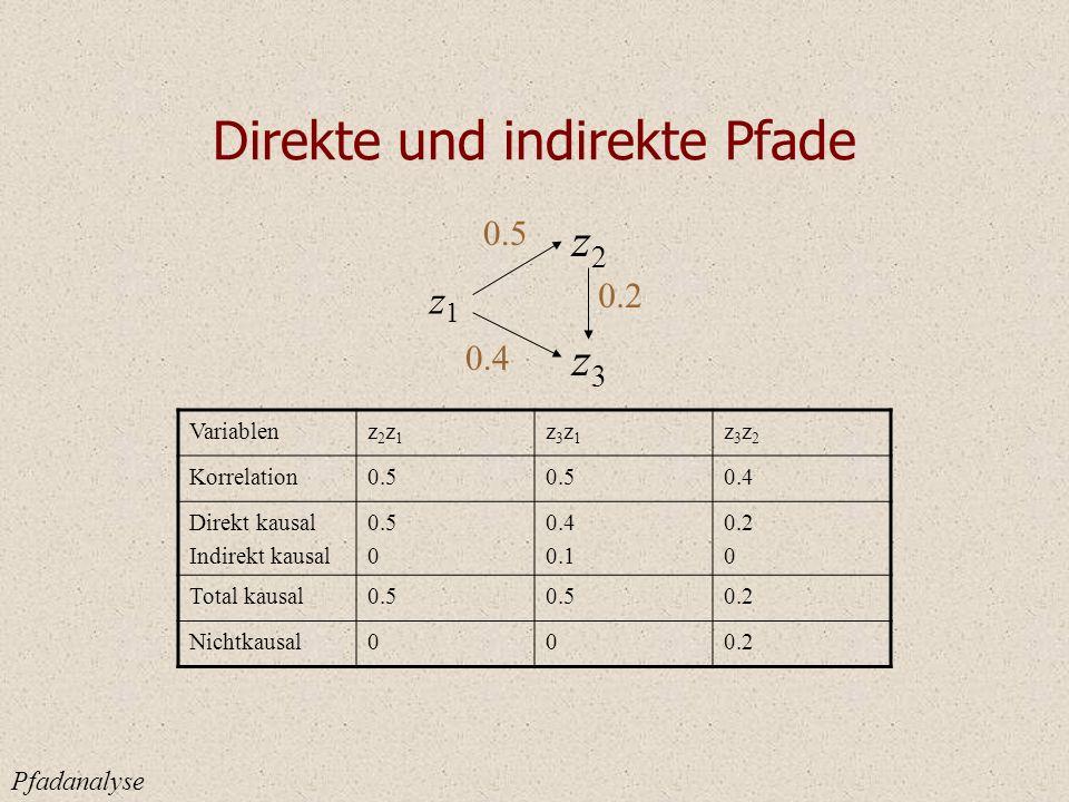 Direkte und indirekte Pfade Pfadanalyse z1z1 z2z2 z3z3 0.5 0.2 0.4 Variablenz2z1z2z1 z3z1z3z1 z3z2z3z2 Korrelation0.5 0.4 Direkt kausal Indirekt kausal 0.5 0 0.4 0.1 0.2 0 Total kausal0.5 0.2 Nichtkausal000.2
