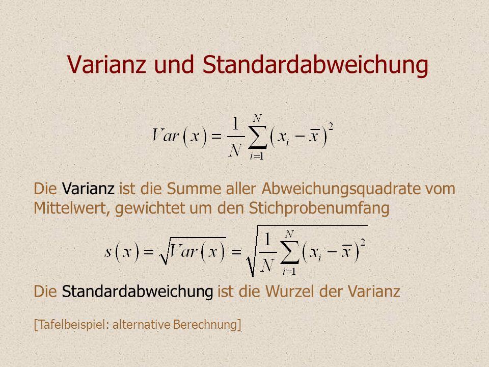 Varianz und Standardabweichung Die Varianz ist die Summe aller Abweichungsquadrate vom Mittelwert, gewichtet um den Stichprobenumfang Die Standardabwe