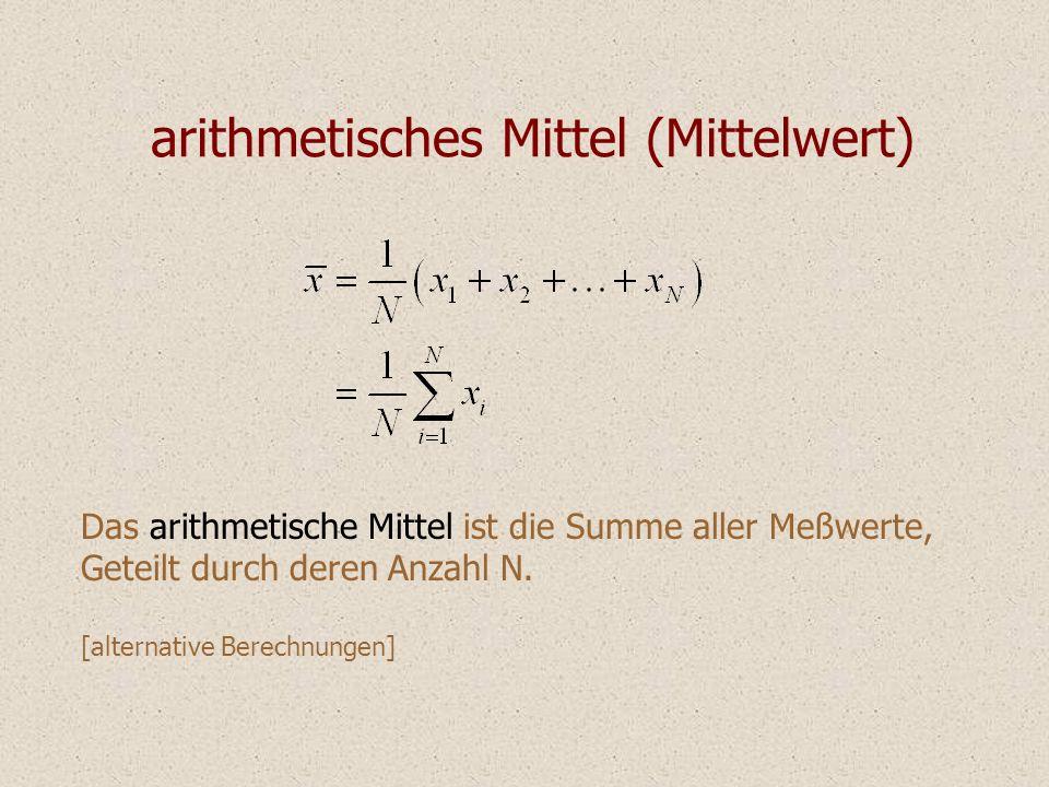 arithmetisches Mittel (Mittelwert) Das arithmetische Mittel ist die Summe aller Meßwerte, Geteilt durch deren Anzahl N. [alternative Berechnungen]