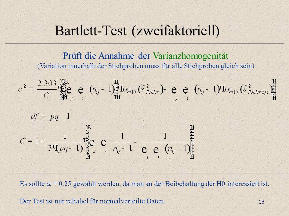 16 Bartlett-Test (zweifaktoriell) Prüft die Annahme der Varianzhomogenität (Variation innerhalb der Stichproben muss für alle Stichproben gleich sein) Es sollte = 0.25 gewählt werden, da man an der Beibehaltung der H0 interessiert ist.