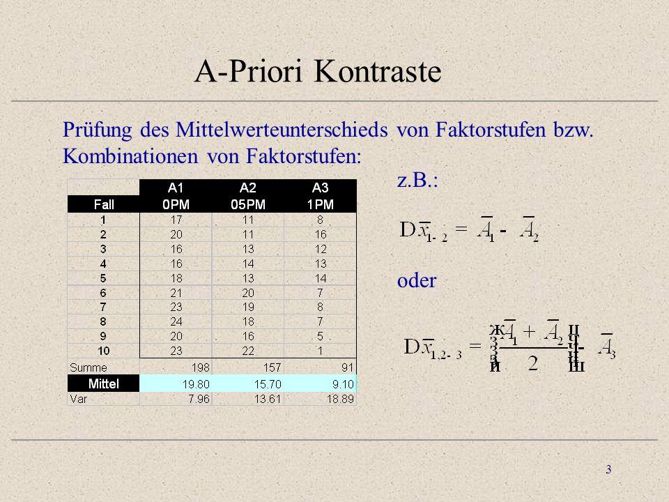 3 A-Priori Kontraste Prüfung des Mittelwerteunterschieds von Faktorstufen bzw.