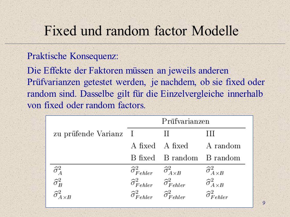 9 Fixed und random factor Modelle Praktische Konsequenz: Die Effekte der Faktoren müssen an jeweils anderen Prüfvarianzen getestet werden, je nachdem, ob sie fixed oder random sind.