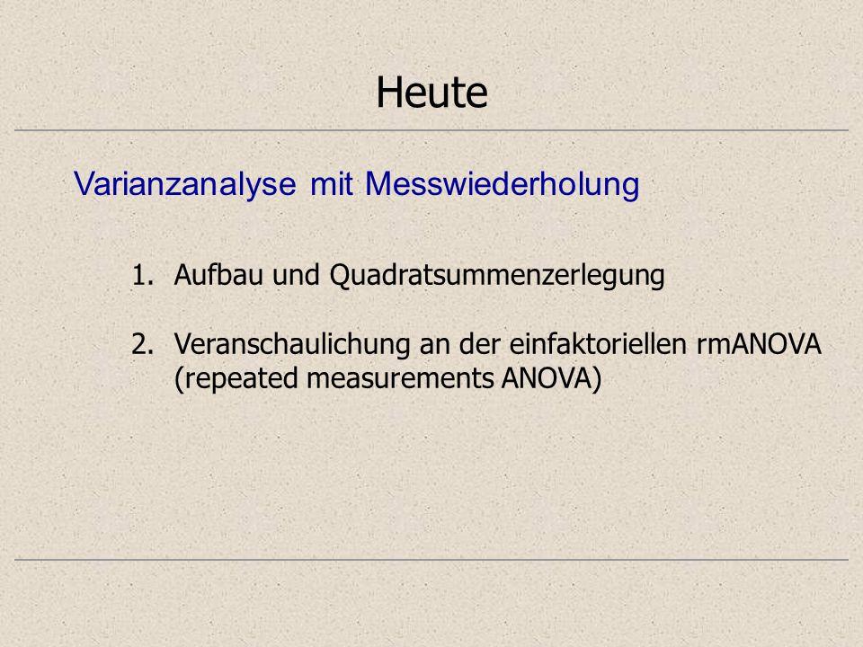 Heute 1.Aufbau und Quadratsummenzerlegung 2.Veranschaulichung an der einfaktoriellen rmANOVA (repeated measurements ANOVA) Varianzanalyse mit Messwiederholung