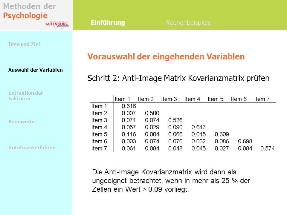 Methoden der Psychologie Vorauswahl der eingehenden Variablen Schritt 2: Anti-Image Matrix Kovarianzmatrix prüfen Einführung Rechenbeispiele Die Anti-