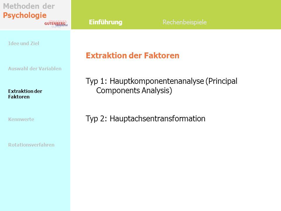 Methoden der Psychologie Extraktion der Faktoren Einführung Rechenbeispiele Idee und Ziel Auswahl der Variablen Extraktion der Faktoren Kennwerte Rota