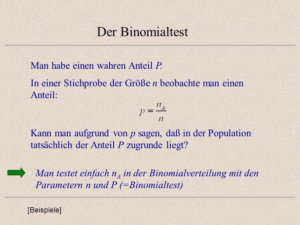 Der Binomialtest Man habe einen wahren Anteil P. Kann man aufgrund von p sagen, daß in der Population tatsächlich der Anteil P zugrunde liegt? [Beispi
