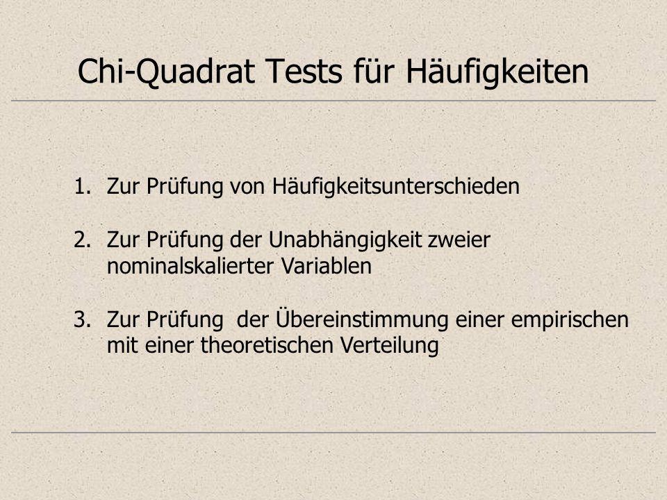 Chi-Quadrat Tests für Häufigkeiten 1.Zur Prüfung von Häufigkeitsunterschieden 2.Zur Prüfung der Unabhängigkeit zweier nominalskalierter Variablen 3.Zu