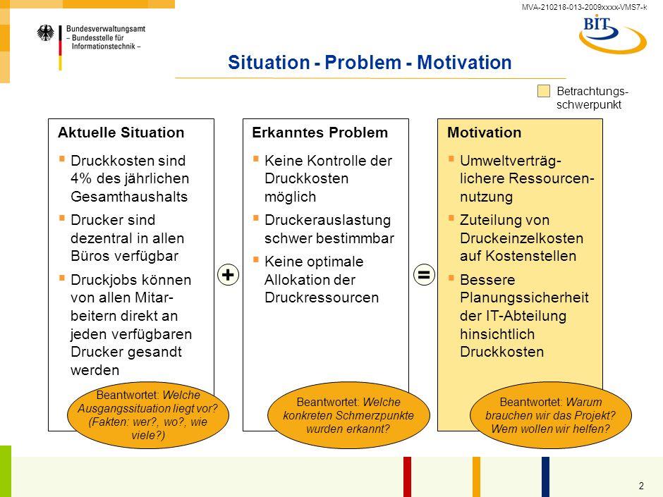 MVA-210218-013-2009xxxx-VMS7-k 2 Situation - Problem - Motivation Keine Kontrolle der Druckkosten möglich Druckerauslastung schwer bestimmbar Keine optimale Allokation der Druckressourcen Umweltverträg- lichere Ressourcen- nutzung Zuteilung von Druckeinzelkosten auf Kostenstellen Bessere Planungssicherheit der IT-Abteilung hinsichtlich Druckkosten Aktuelle SituationMotivation Beantwortet: Warum brauchen wir das Projekt.