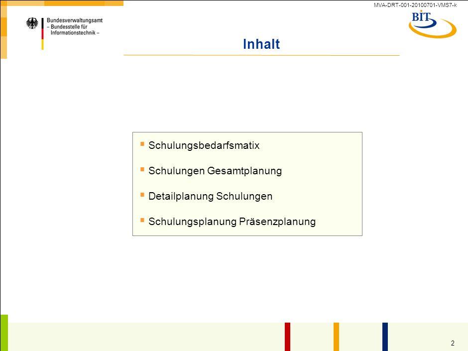 MVA-DRT-001-20100701-VMS7-k 1 Einsatzbedingungen des Dokuments im Rahmen des S-O-S-Ansatzes Name und Version des Dokuments 6.4.4_Schulungsübersicht_v1