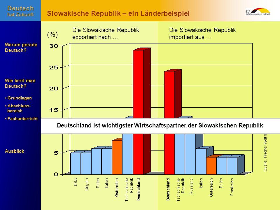 Wie lernt man Deutsch? Warum gerade Deutsch? Ausblick Grundlagen Abschluss- bereich Fachunterricht Tschechische Republik USAItalienUngarnÖsterreichDeu