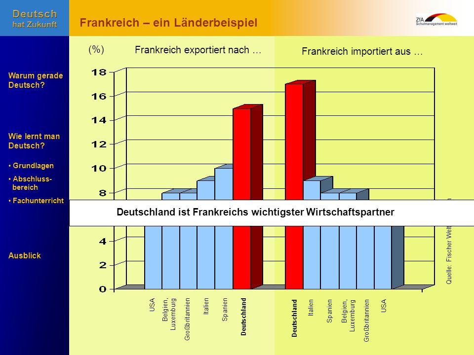 Wie lernt man Deutsch? Warum gerade Deutsch? Ausblick Grundlagen Abschluss- bereich Fachunterricht USA Belgien, Luxemburg GroßbritannienItalienSpanien