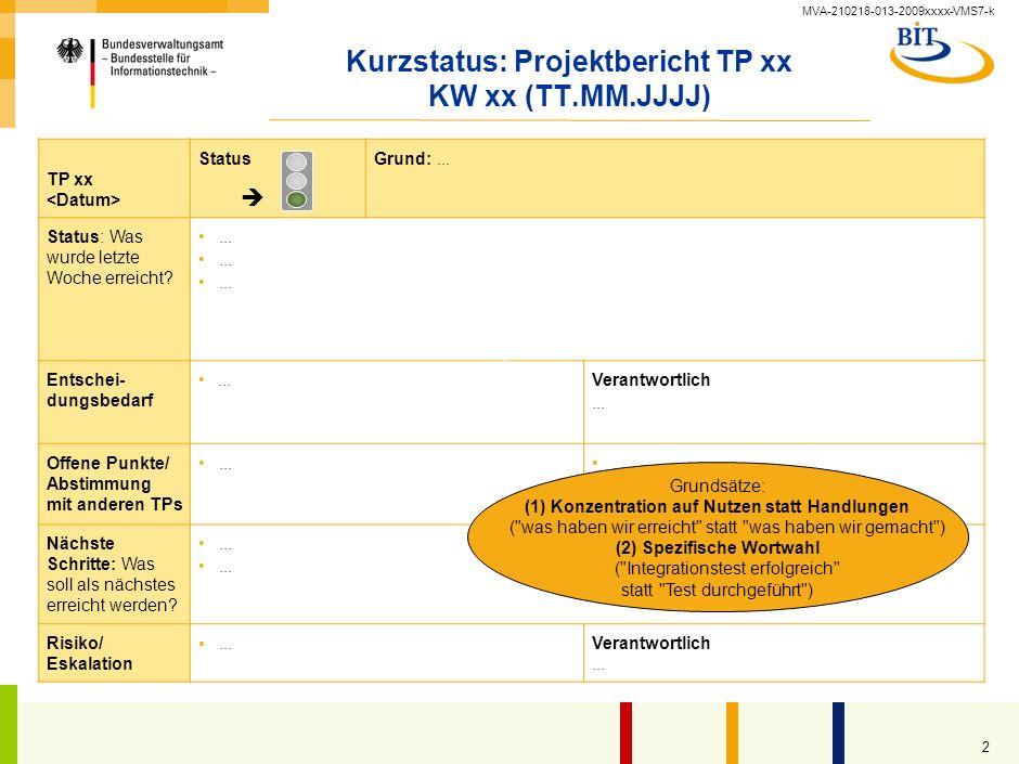 MVA-210218-013-2009xxxx-VMS7-k 1 S-O-S Info Name und Version des Dokuments 6.3-3_Statusbericht_intern_v1.0.ppt / 02.10.2009 1 Projektmanagement-Diszip