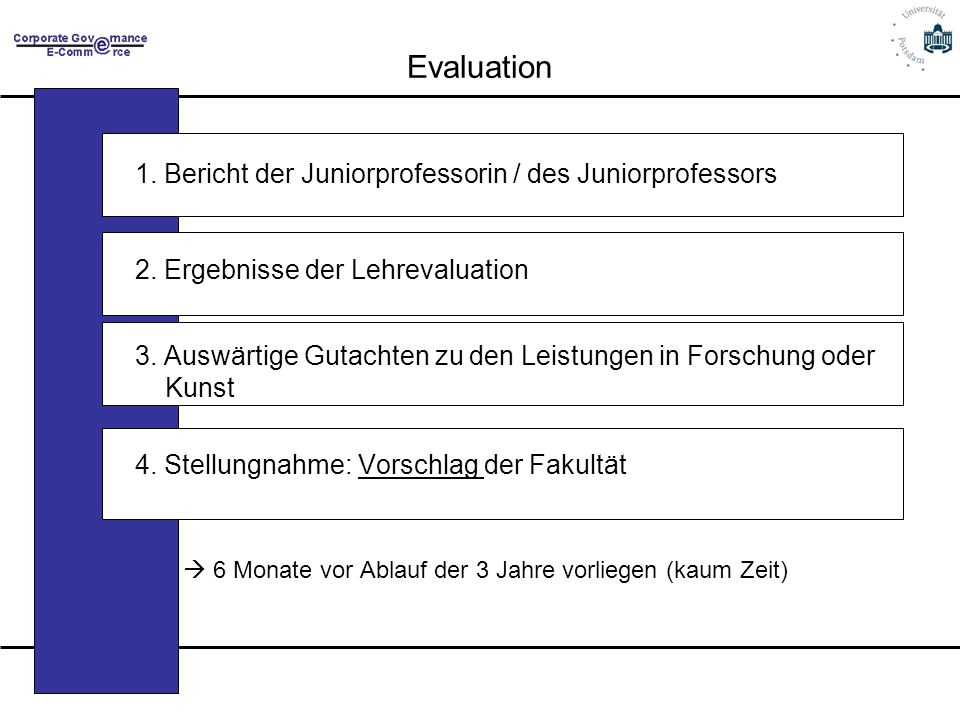 Evaluation 1.Bericht der Juniorprofessorin / des Juniorprofessors 2.