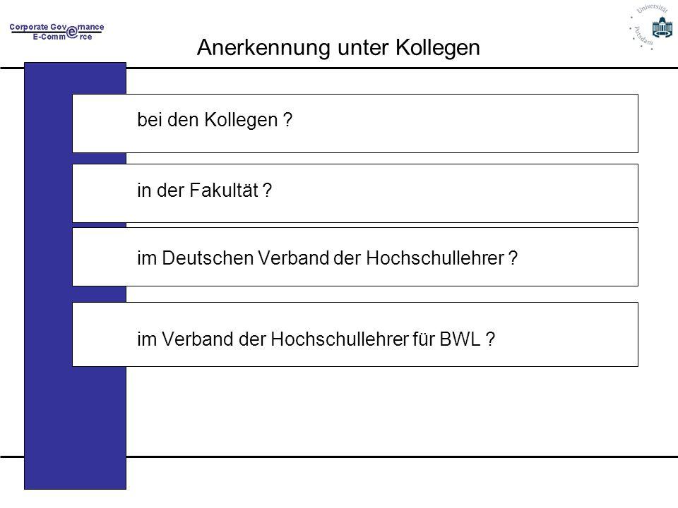 Anerkennung unter Kollegen bei den Kollegen ? in der Fakultät ? im Deutschen Verband der Hochschullehrer ? im Verband der Hochschullehrer für BWL ?