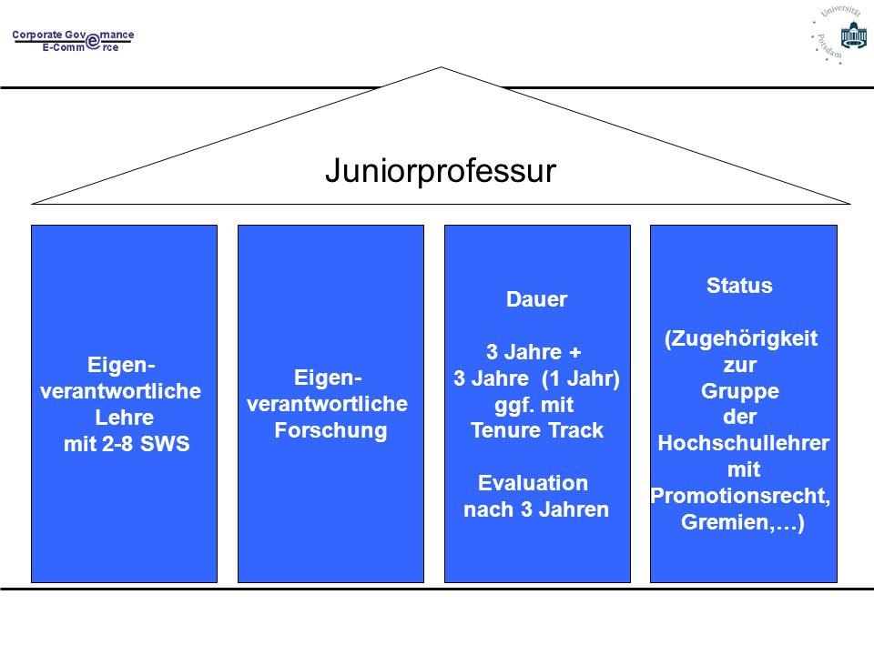 Juniorprofessur Eigen- verantwortliche Lehre mit 2-8 SWS Eigen- verantwortliche Forschung Dauer 3 Jahre + 3 Jahre (1 Jahr) ggf. mit Tenure Track Evalu