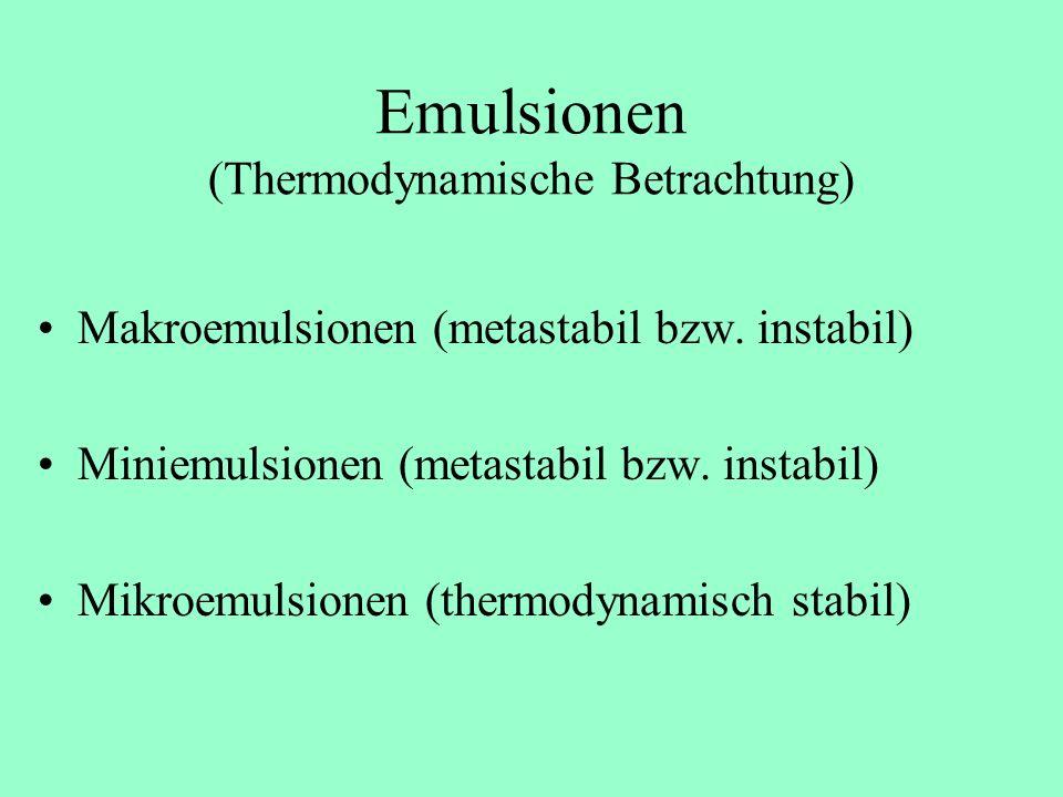 Emulsionen (Betrachtung des Tröpfchendurchmessers d) Makroemulsionen ( d > 1000 nm) Miniemulsionen (50 nm < d < 1000 nm) Mikroemulsionen (2 nm < d < 2