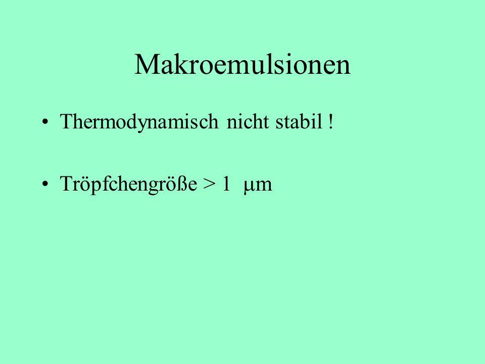 Emulsionen (Thermodynamische Betrachtung) Makroemulsionen (metastabil bzw. instabil) Miniemulsionen (metastabil bzw. instabil) Mikroemulsionen (thermo