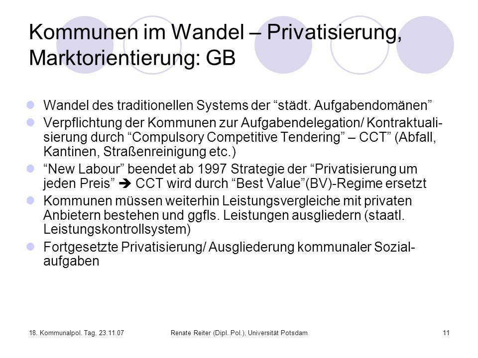 18. Kommunalpol. Tag, 23.11.07Renate Reiter (Dipl. Pol.), Universität Potsdam11 Kommunen im Wandel – Privatisierung, Marktorientierung: GB Wandel des