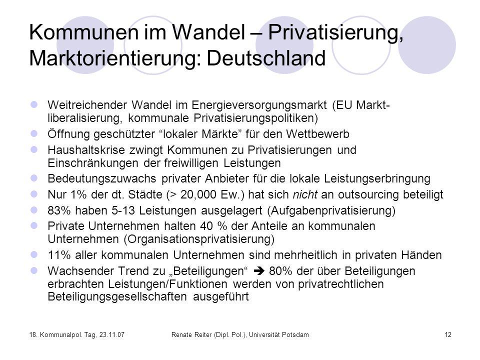 18. Kommunalpol. Tag, 23.11.07Renate Reiter (Dipl. Pol.), Universität Potsdam12 Kommunen im Wandel – Privatisierung, Marktorientierung: Deutschland We