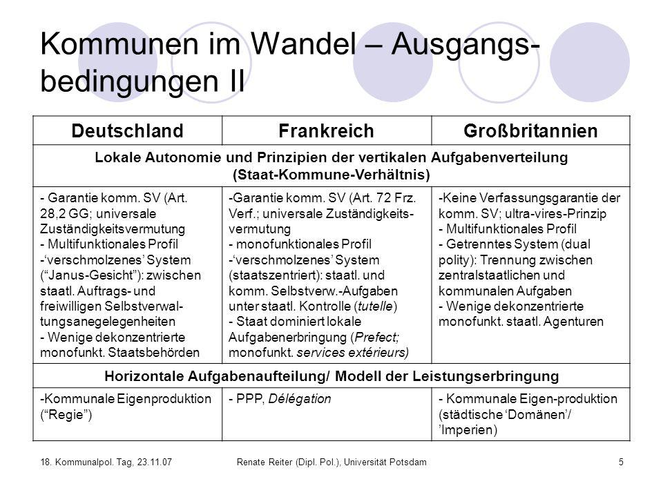 18. Kommunalpol. Tag, 23.11.07Renate Reiter (Dipl. Pol.), Universität Potsdam5 Kommunen im Wandel – Ausgangs- bedingungen II DeutschlandFrankreichGroß
