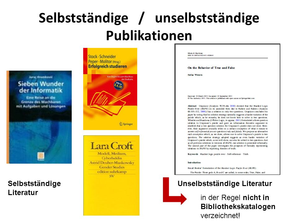 Selbstständige / unselbstständige Publikationen Unselbstständige LiteraturSelbstständige Literatur in der Regel nicht in Bibliothekskatalogen verzeich