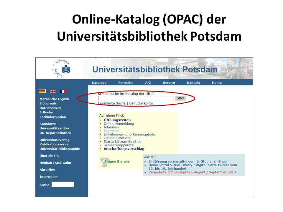 Online-Katalog (OPAC) der Universitätsbibliothek Potsdam