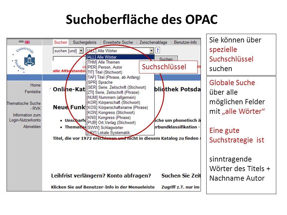 Suchoberfläche des OPAC Globale Suche über alle möglichen Felder mit alle Wörter Eine gute Suchstrategie ist sinntragende Wörter des Titels + Nachname