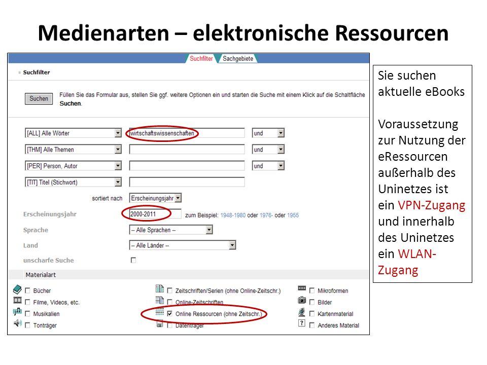 Medienarten – elektronische Ressourcen Sie suchen aktuelle eBooks Voraussetzung zur Nutzung der eRessourcen außerhalb des Uninetzes ist ein VPN-Zugang