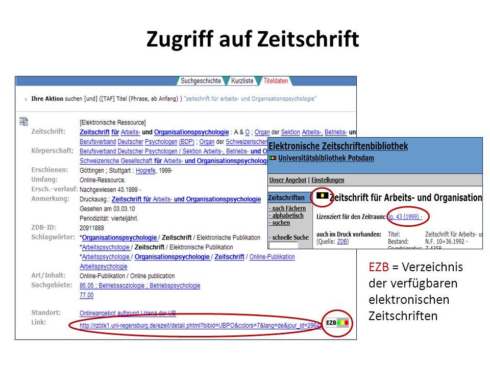 Zugriff auf Zeitschrift EZB = Verzeichnis der verfügbaren elektronischen Zeitschriften