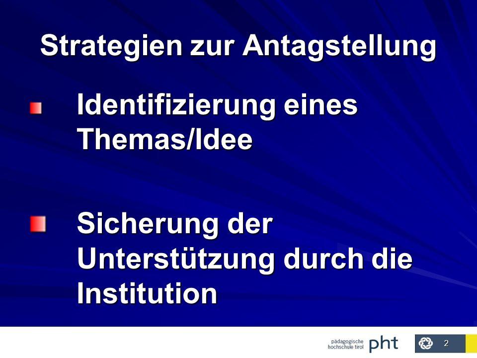 2 Strategien zur Antagstellung Identifizierung eines Themas/Idee Sicherung der Unterstützung durch die Institution Sicherung der Unterstützung durch die Institution