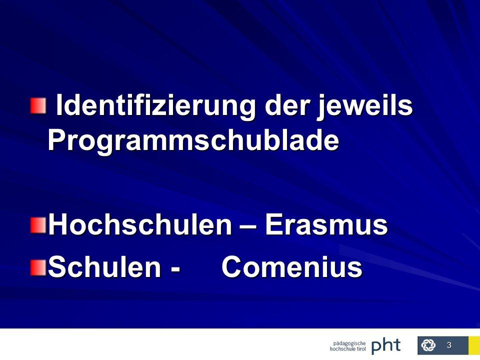3 Identifizierung der jeweils Programmschublade Identifizierung der jeweils Programmschublade Hochschulen – Erasmus Schulen - Comenius