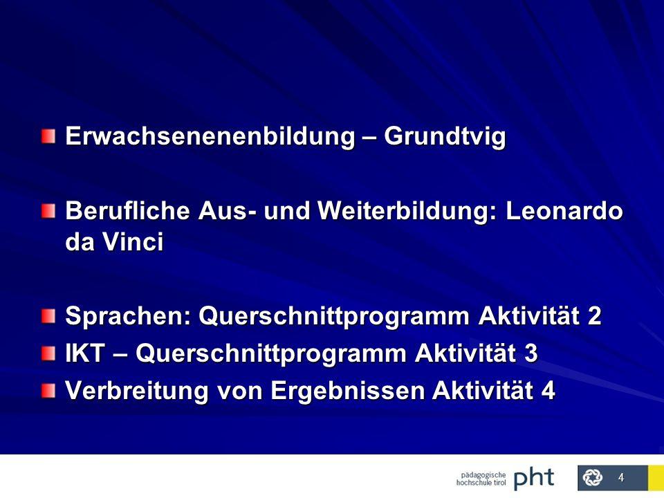 4 Erwachsenenenbildung – Grundtvig Berufliche Aus- und Weiterbildung: Leonardo da Vinci Sprachen: Querschnittprogramm Aktivität 2 IKT – Querschnittprogramm Aktivität 3 Verbreitung von Ergebnissen Aktivität 4