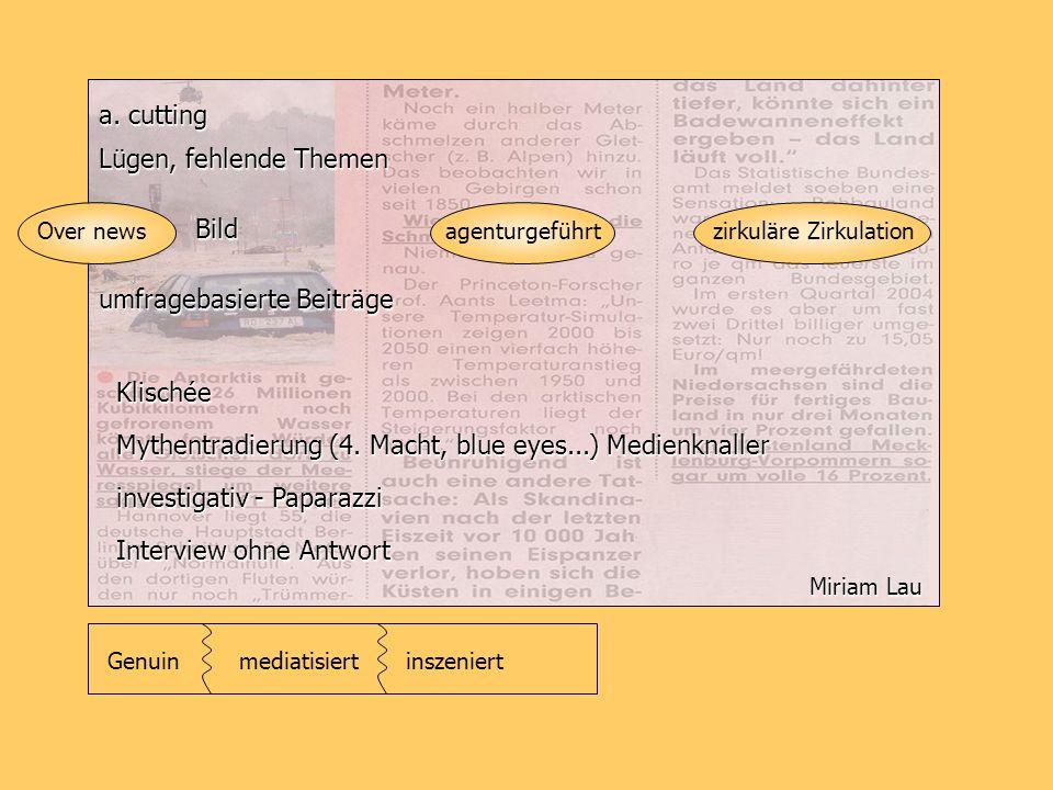 a. cutting Lügen, fehlende Themen Bild Mythentradierung (4. Macht, blue eyes...) Medienknaller Over news investigativ - Paparazzi umfragebasierte Beit