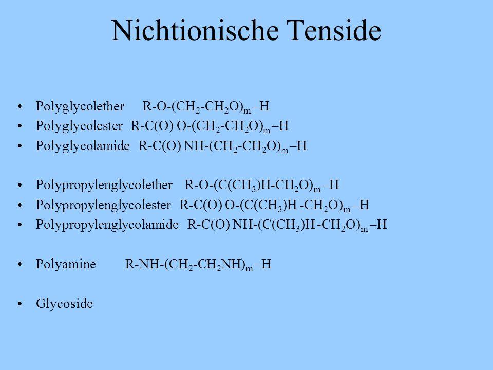 Ionische Tenside Anionisch Kationisch Amphoter Carboxylgruppen Primäre Aminogruppen Sulfobetaine Sulfatgruppen Sekundäre Aminogruppen Carbobetaine Sul