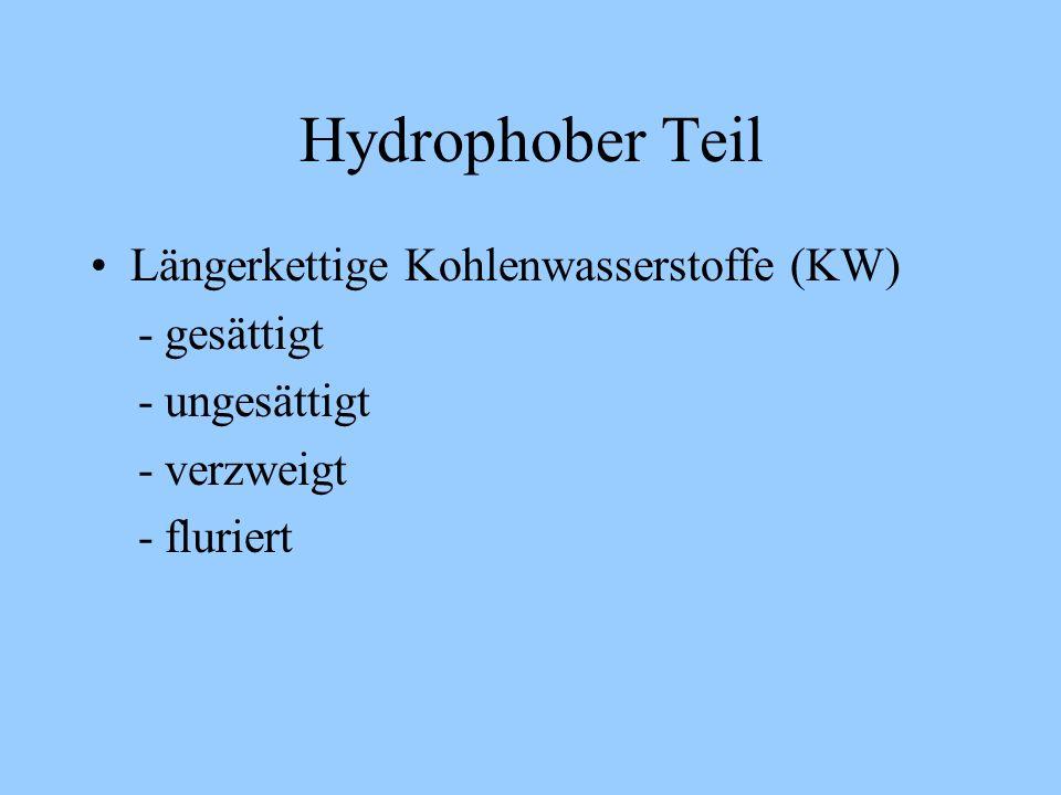 Hydrophober Teil Längerkettige Kohlenwasserstoffe (KW) - gesättigt - ungesättigt - verzweigt - fluriert