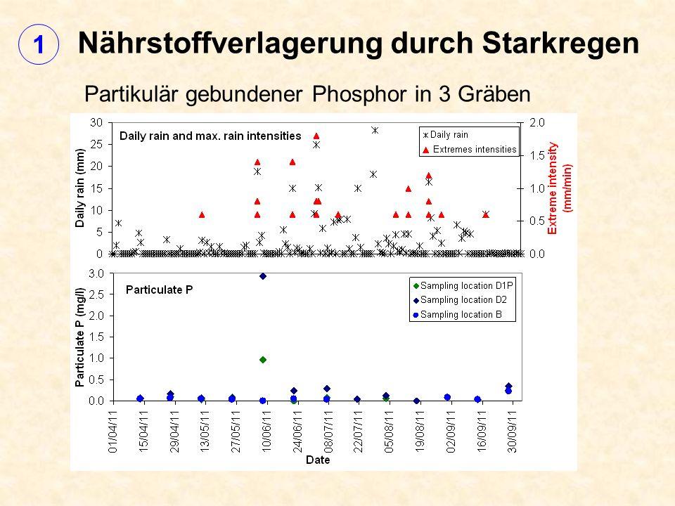 Nährstoffverlagerung durch Starkregen Partikulär gebundener Phosphor in 3 Gräben 1