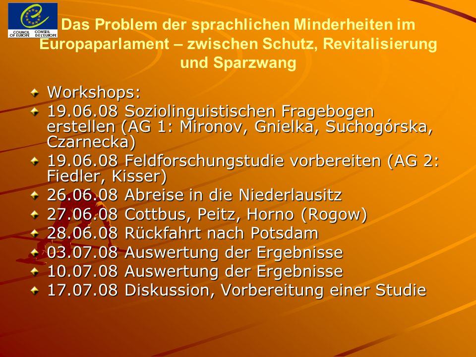 Das Problem der sprachlichen Minderheiten im Europaparlament – zwischen Schutz, Revitalisierung und Sparzwang Workshops: 19.06.08 Soziolinguistischen