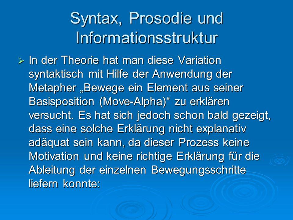 Syntax, Prosodie und Informationsstruktur In der Theorie hat man diese Variation syntaktisch mit Hilfe der Anwendung der Metapher Bewege ein Element a