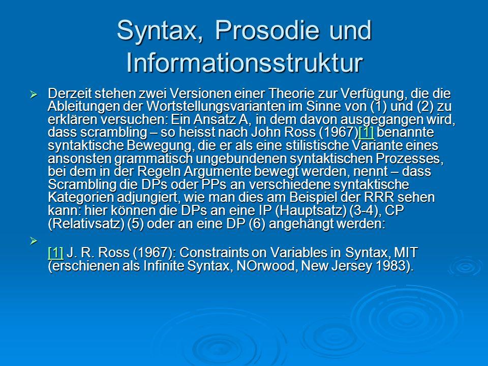 Syntax, Prosodie und Informationsstruktur Derzeit stehen zwei Versionen einer Theorie zur Verfügung, die die Ableitungen der Wortstellungsvarianten im
