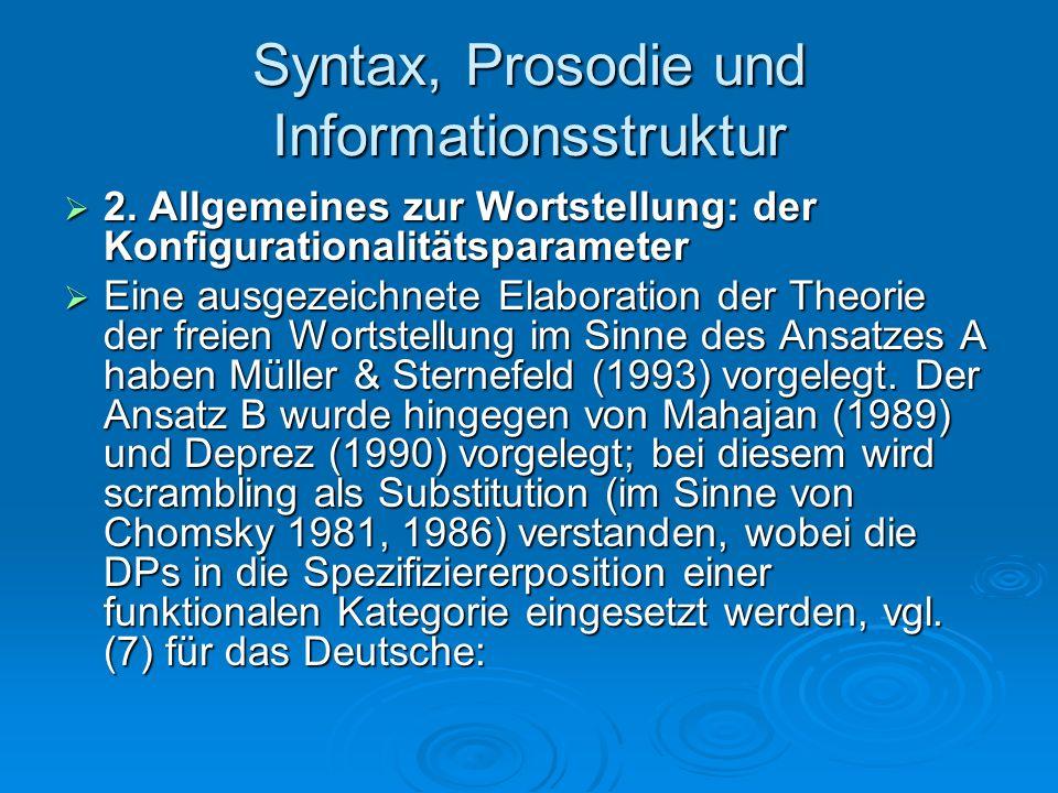 Syntax, Prosodie und Informationsstruktur 2. Allgemeines zur Wortstellung: der Konfigurationalitätsparameter 2. Allgemeines zur Wortstellung: der Konf