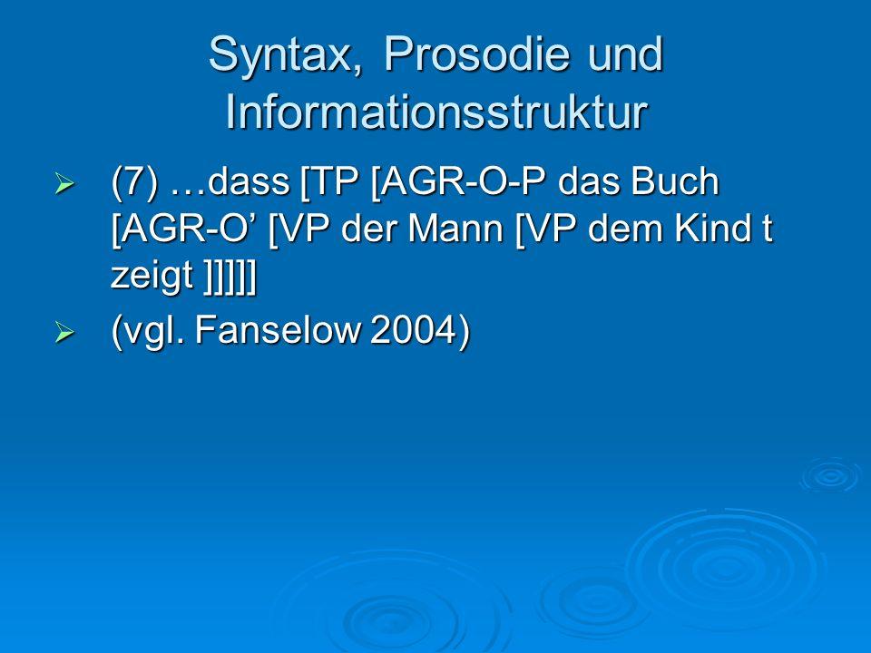 Syntax, Prosodie und Informationsstruktur (7) …dass [TP [AGR-O-P das Buch [AGR-O [VP der Mann [VP dem Kind t zeigt ]]]]] (7) …dass [TP [AGR-O-P das Bu