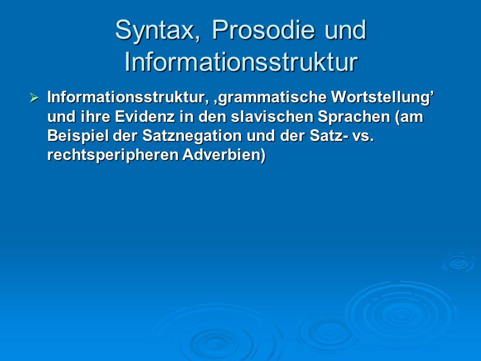 Syntax, Prosodie und Informationsstruktur (3) On skazal [CP čto [IP [DP Petrov]i [IP stranno [CP čto [IP [DP ti] [VP nam pomogal]]]]]] (3) On skazal [CP čto [IP [DP Petrov]i [IP stranno [CP čto [IP [DP ti] [VP nam pomogal]]]]]] Er sagte dass Petrov merkwürdig dass uns geholfen Er sagte dass Petrov merkwürdig dass uns geholfen Er sagte, dass es merkwürdig sei, dass uns Petrov geholfen habe Er sagte, dass es merkwürdig sei, dass uns Petrov geholfen habe