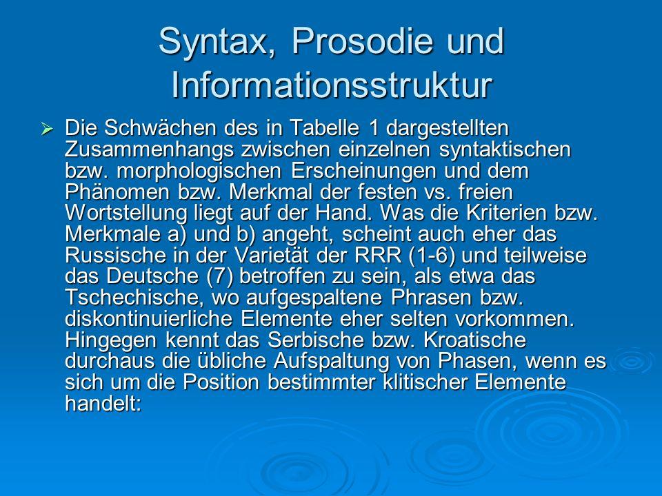 Syntax, Prosodie und Informationsstruktur Die Schwächen des in Tabelle 1 dargestellten Zusammenhangs zwischen einzelnen syntaktischen bzw. morphologis