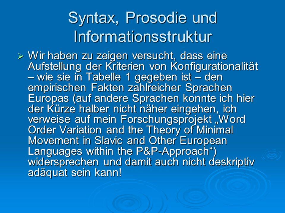 Syntax, Prosodie und Informationsstruktur Wir haben zu zeigen versucht, dass eine Aufstellung der Kriterien von Konfigurationalität – wie sie in Tabel
