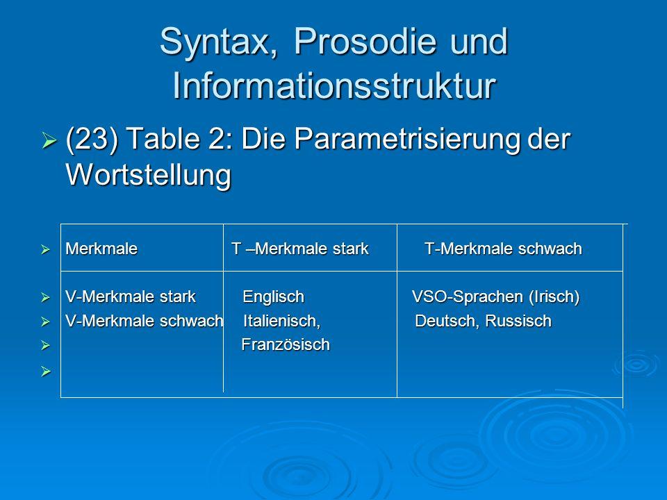 Syntax, Prosodie und Informationsstruktur (23) Table 2: Die Parametrisierung der Wortstellung (23) Table 2: Die Parametrisierung der Wortstellung Merk