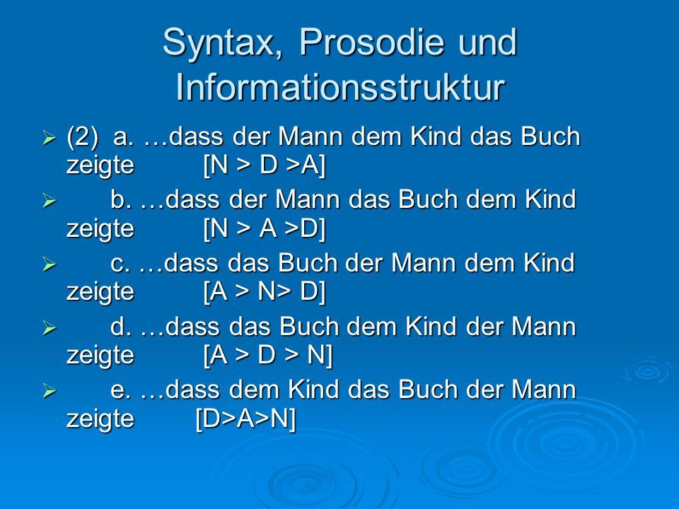 Syntax, Prosodie und Informationsstruktur (2) a. …dass der Mann dem Kind das Buch zeigte [N > D >A] (2) a. …dass der Mann dem Kind das Buch zeigte [N