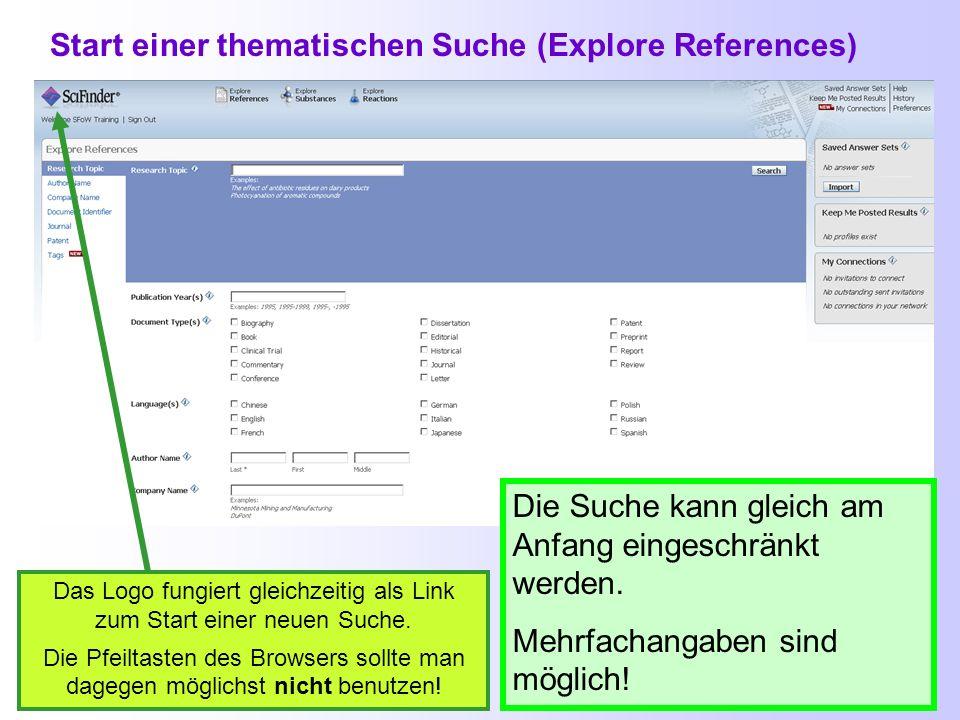 Recherchestrategien in SciFinder SciFinder sucht automatisch nach Synonymen, alternativen Schreibweisen, Pluralformen und verwendet Trunkierungen: - V