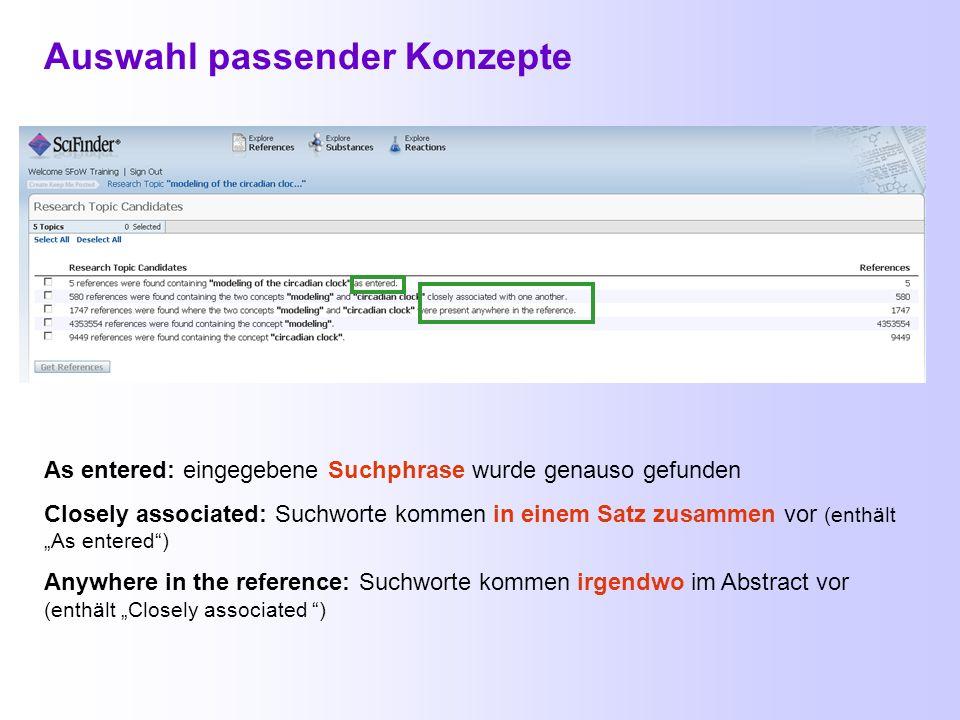 Start einer thematischen Suche (Explore References) Das Logo fungiert gleichzeitig als Link zum Start einer neuen Suche. Die Pfeiltasten des Browsers