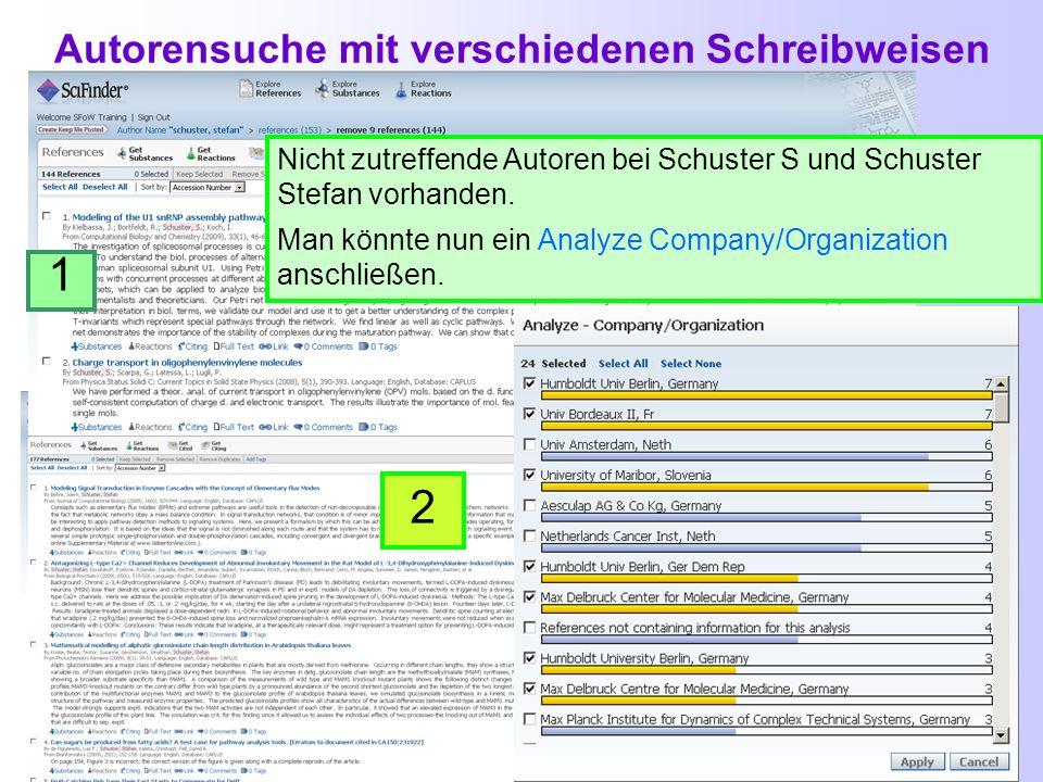 Suche nach Autoren 1 2 Beispiel: Publikationen von Stefan Schuster